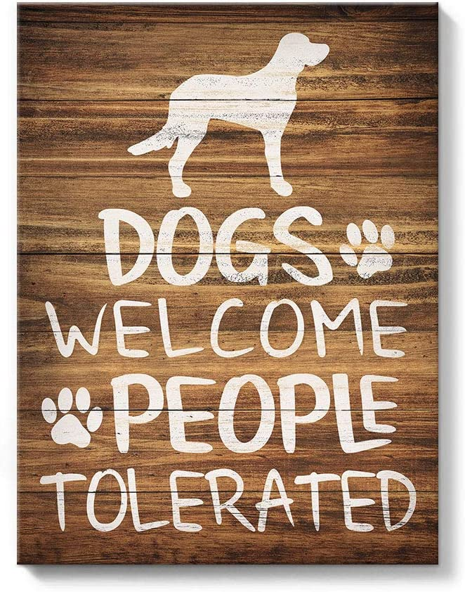 takfot Canvas Wall Art for Bedroom Dog Quote Canvas Paintings Funny Words Art Print Brown Puppy Pictures Inspirational Animal Signs Home Decor for Living Room 12x16 Inch, Dogs Welcome People Tolerated