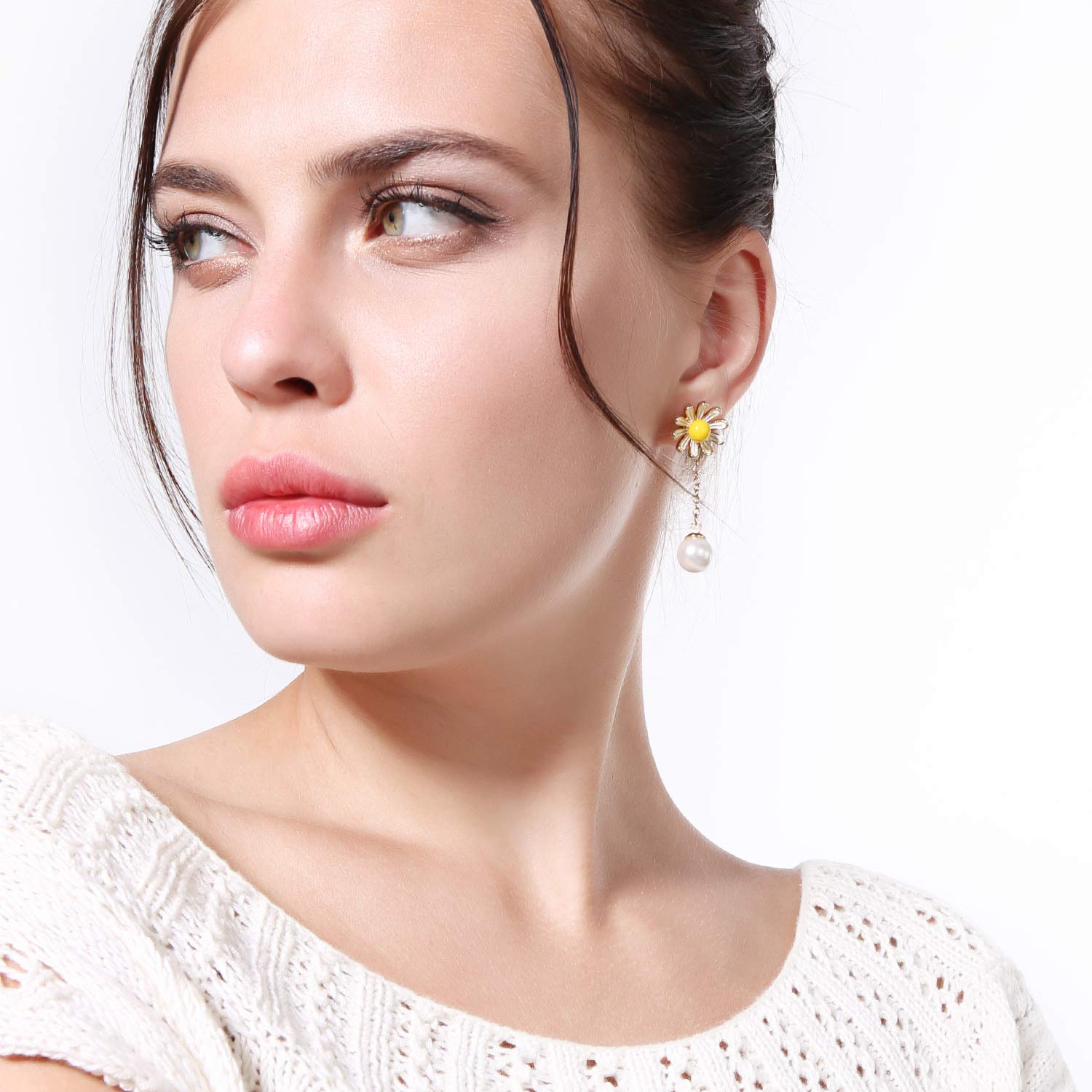 Miss Kiss 925 Sliver Post Acrylic Pearl Yellow Flower Daisy Dangle Drop Earrings Jewelry for Womens Girls ED01558c