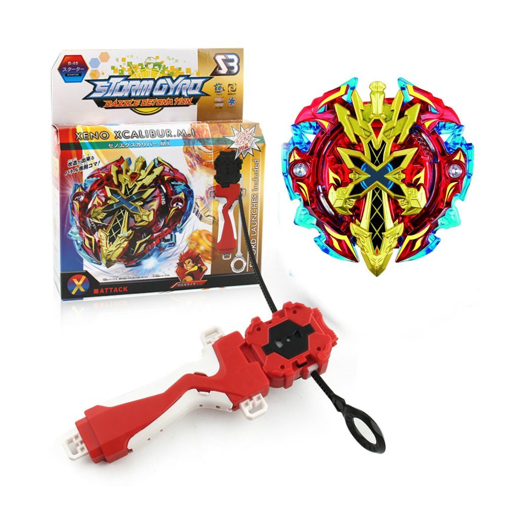 Metal Fusion Gyro by JKC KIDS | Bey Board Game Blade Burst Starter Set High Performance Battling Tops Xeno Xcalibur.M.I Exquisite Packaging B-48 Included Sword Shape Launcher