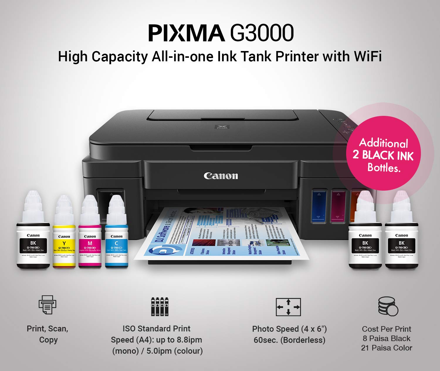 Canon Pixma G3000 All In One Wireless Ink Tank Colour Printer Tinta 790 Cyan Ori For G1000 G2000 Computers Accessories