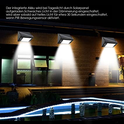 DECKEY Lámpara Exterior Foco Solar 20 LED Sensor de Movimiento Impermeable Sensor-Detector PIR 3