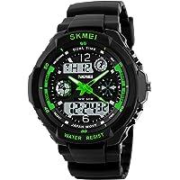 amstt Unisex Reloj Deportivo multifunción Verde Luz LED Digital impermeable S Choque Reloj de pulsera verde