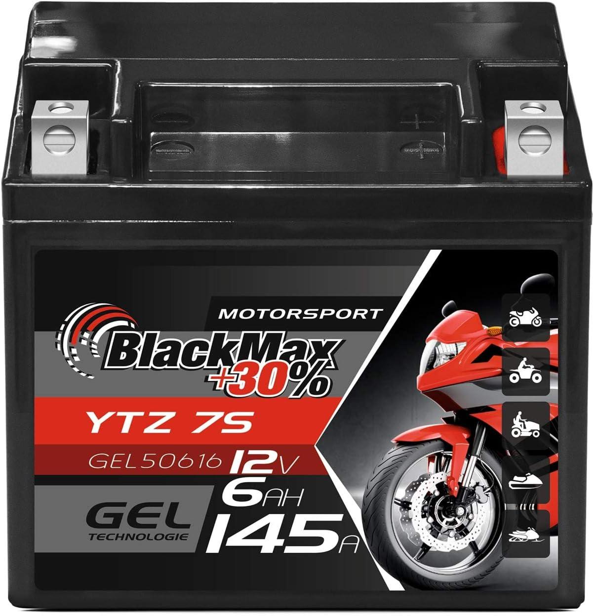 Blackmax Ytz7s Motorradbatterie Gel 12v 6ah Ttz7s Bs Batterie Ytz7 S Gel12 7z S Auto