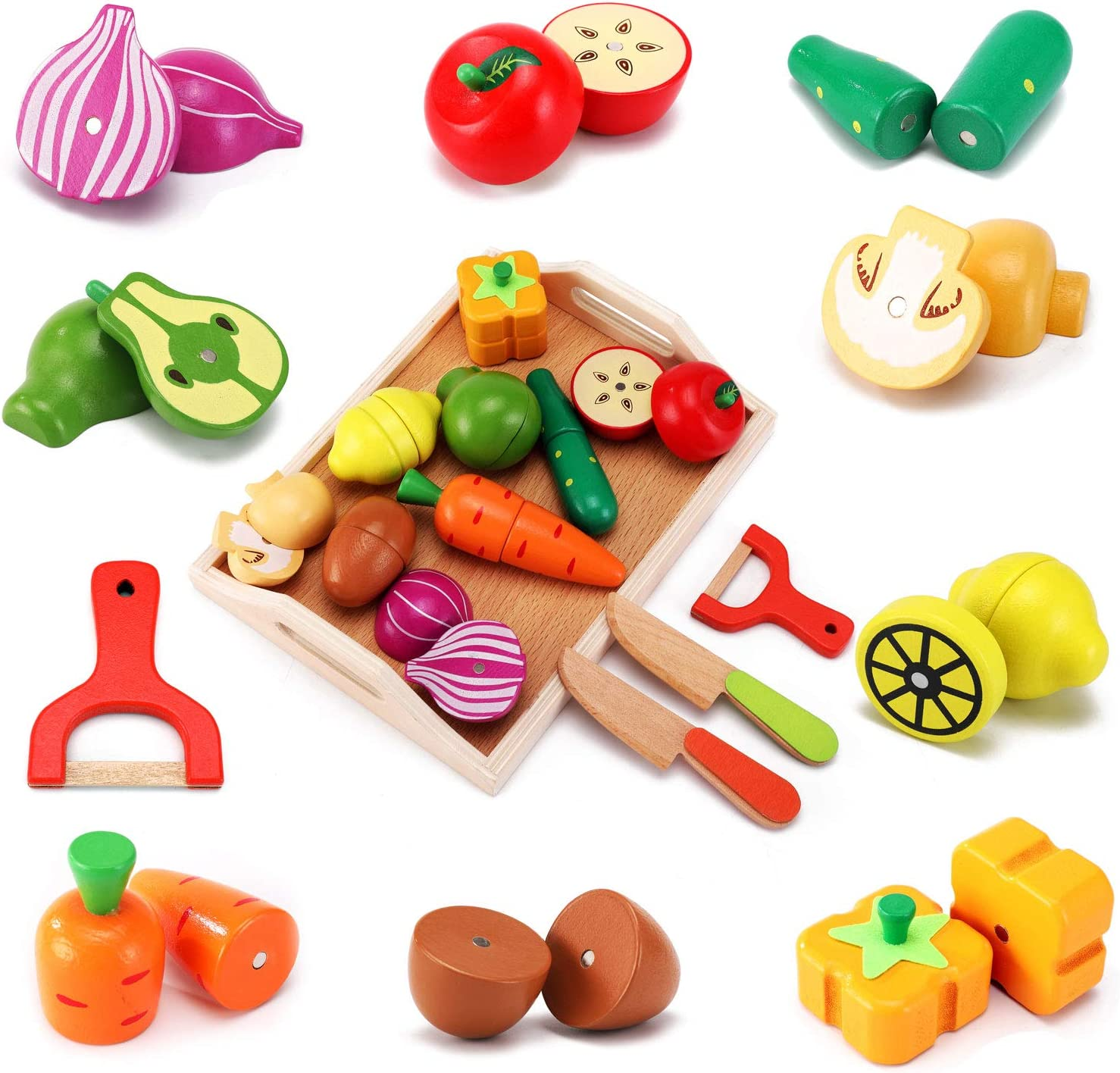 CARLORBO Wooden Toys Food for Kids Kitchen - Play Food Cutting Fruits and Vegetables Set for Pretend Role Play