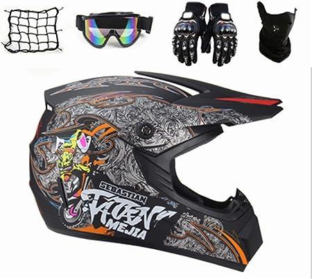 Syano Motocross Helm Kinder Crosshelm D O T Standard Fullface Motorrad Helm Road Helm Mit Handschuhe Maske Brille Motorrad Netz Für Mountainbike Atv Bmx Downhill Offroad L Auto