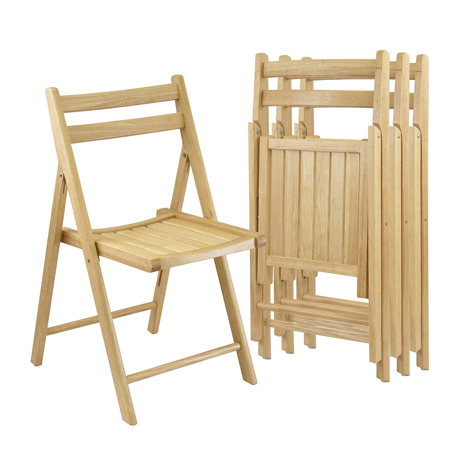 Amazon com winsome wood folding chairs natural finish set of 4 kitchen dining