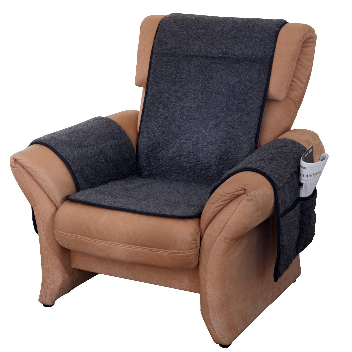 Armchair Cover New Wool Anthracite