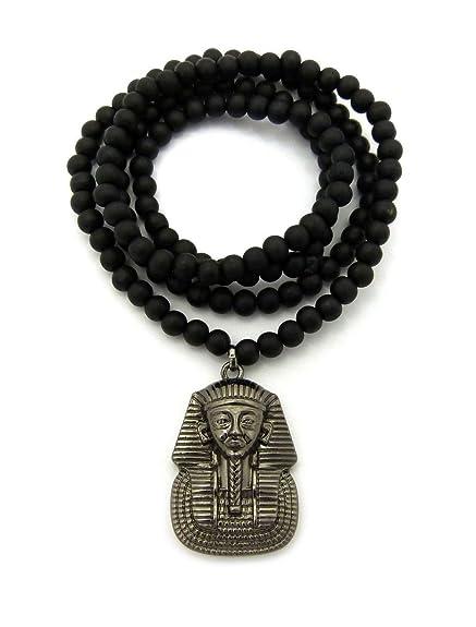 Mens Pharaoh King Tut Egyptian Gold Micro Pendant 6mm 30 Wooden