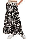 BerryGo Women's Boho High Waist Wide Leg Pants Drawstring Leopard Pants with Pockets