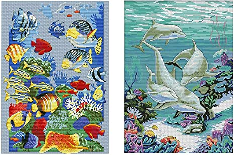 Counted Cross Stitch Kit Handmade Embroidery Craft Ocean World Dolphin Fish