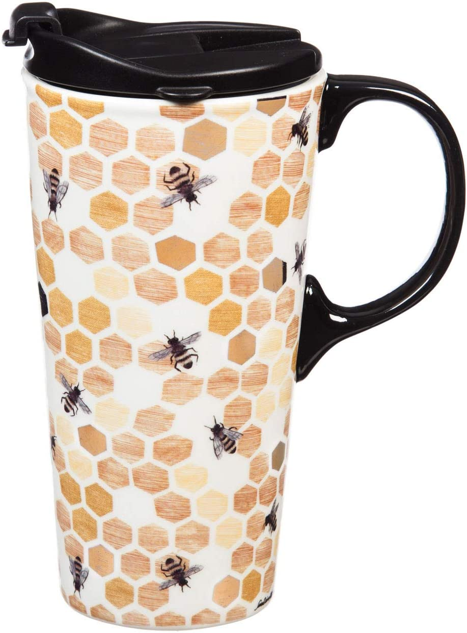 Happy to Bee Home Ceramic Travel Cup - 5 x 7 x 4 Inches