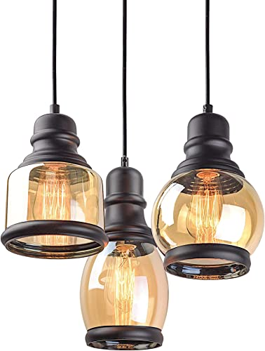 "Kira Home Hudson 11.5"" Vintage 3-Light Multi-Pendant Chandelier"