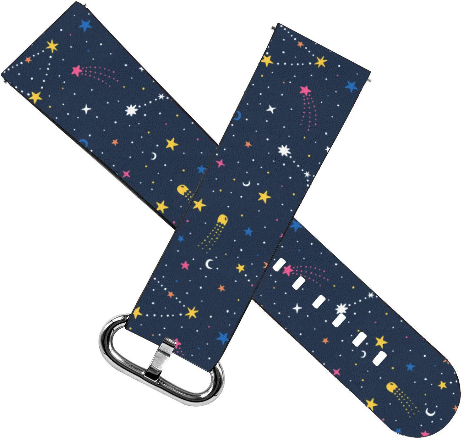 Replacement Leather Strap Printing Wristbands Compatible with Fitbit Versa 2 Cosmic Starry Night Versa//Versa Lite//Versa SE