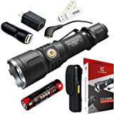 Klarus XT12S 1600 Lumens CREE XHP35 HI D4 LED Tactical Rechargeable Flashlight,Magnetic Charging Multi-mode Dual-switch Flashlight, with 118650 Battery, Wall Adapter,Car Charger and SKYBEN USB Light