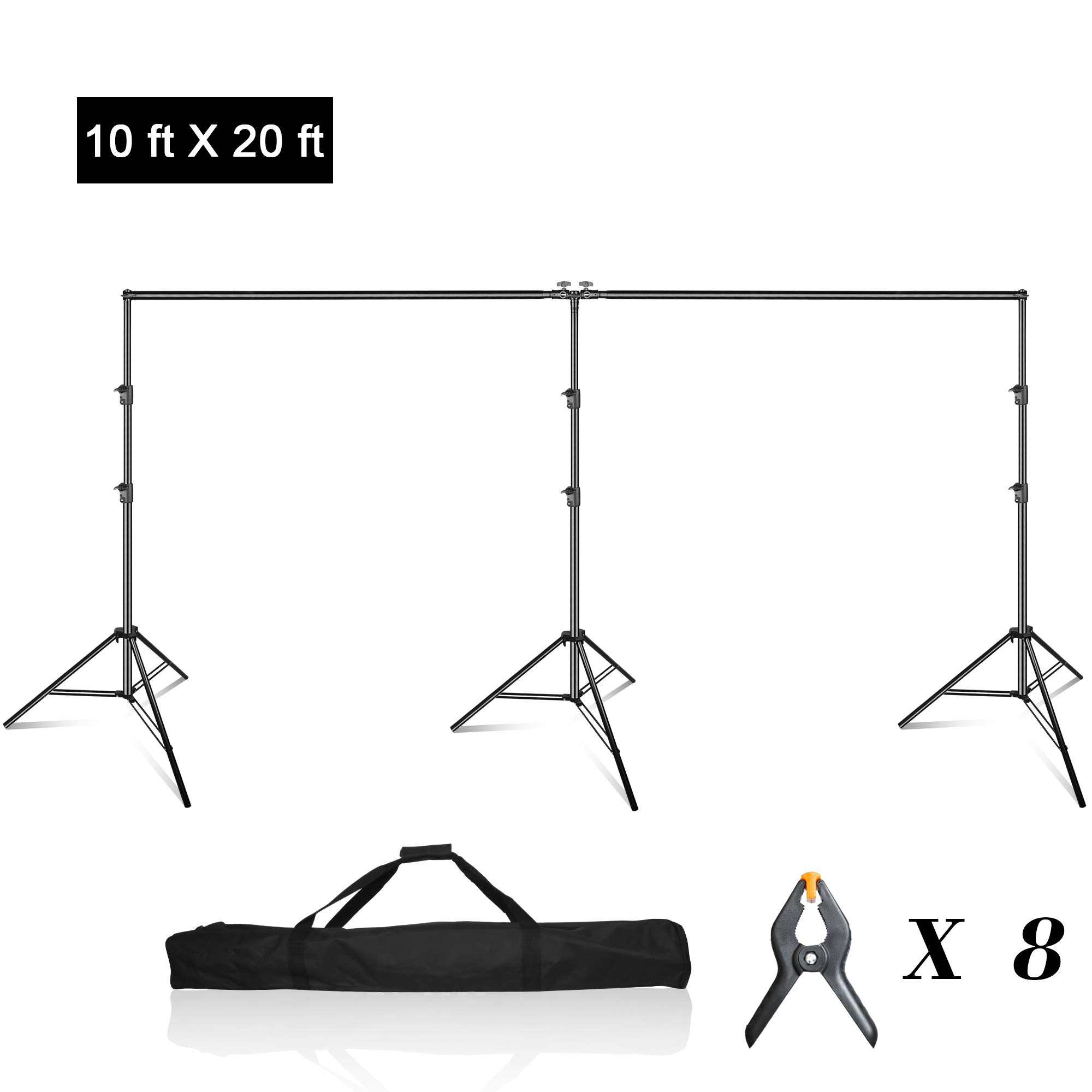 Emart Photo Video Studio 20 ft Wide 10 ft Tall Adjustable Heavy Duty Photography Backdrop Stand, Background Support System Kit with 3 Stands, 8 Spring Clamps, 1 Carrying Bag by EMART