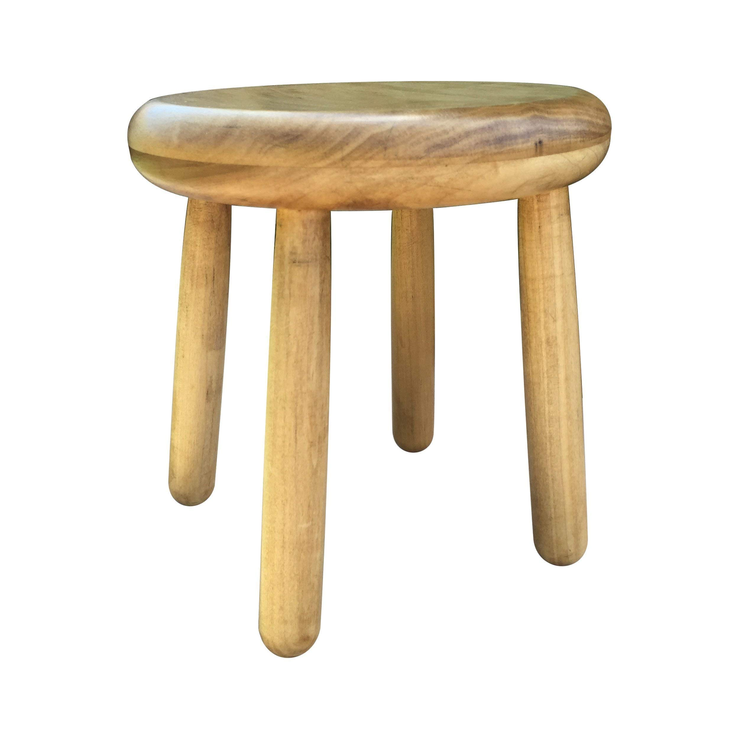 Modern Plant Stand Four Leg Stool by CW Furniture in Honey Wood Milk Milking Indoor Flower Pot Base Display Holder Solid Wooden Kids Chair Table Simple by Candlewood Furniture