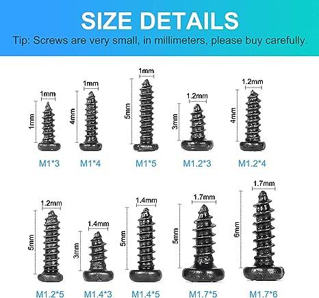 couleur : t/ête Ctsk, taille : 14 mm Lot de 100 mini vis /à bois /à t/ête frais/ée cruciforme plate M2 M2.6 M3 M3.5 en acier noir avec t/ête frais/ée cruciforme ronde autotaraudeuse RSS
