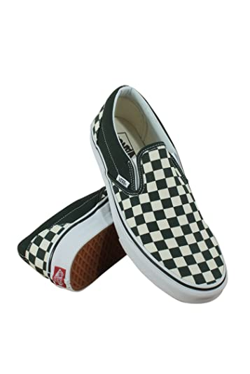 9869502325d9 Vans Classic Slip On Checkerboard Unisex Shoes Green White Men Women  Sneakers (8.5
