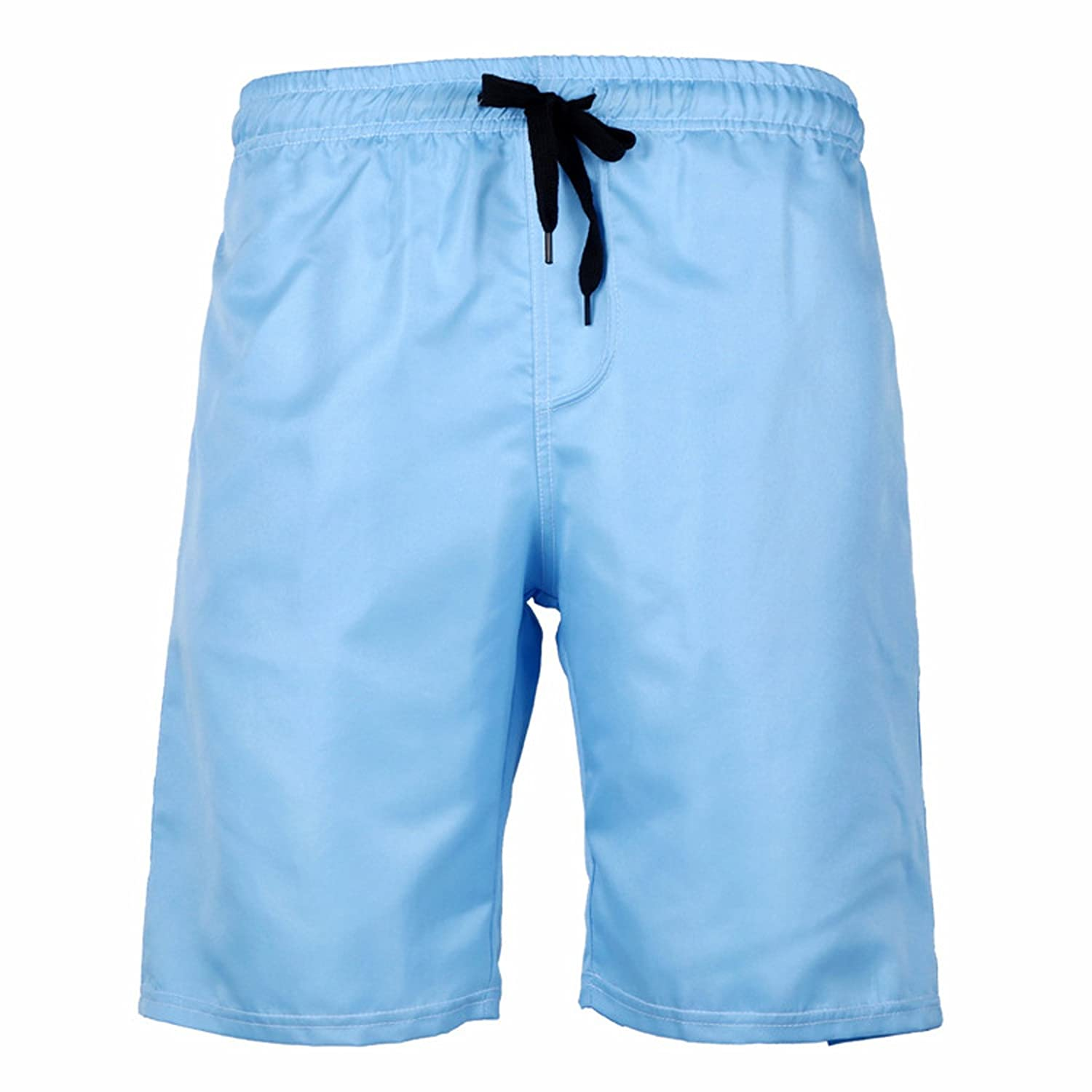 ZIOOER Men's Sold Color Drawstring Beach Shorts & Swim Trunks
