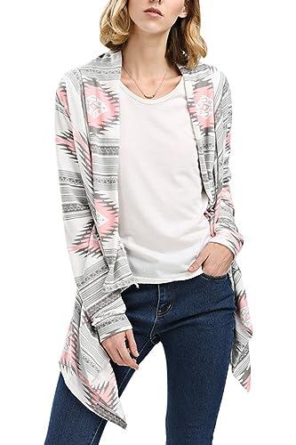 La Mujer Estampado Geométrico Frente Abierto Hanky Hem Irregular Long Sleeve Cardigan Outwear