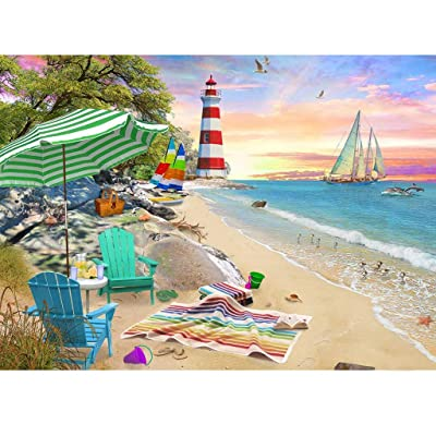 "Beach Vacation Jigsaw Puzzle, 1000 Pieces, 29.53""X19.69"" – Coastal Lighthouses, Seaside Beach, Sailboat by The Ocean Puzzle Games Challenging, Perfect for Family Fun – Fun Indoor Activity: Toys & Games"
