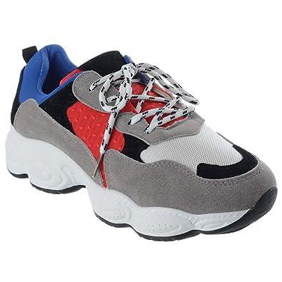 Miss Image UK Womens Ladies Retro Platform Lace up Chunky Trainers Sneakers  Pumps Shoes Size  Amazon.co.uk  Shoes   Bags 4700d315d