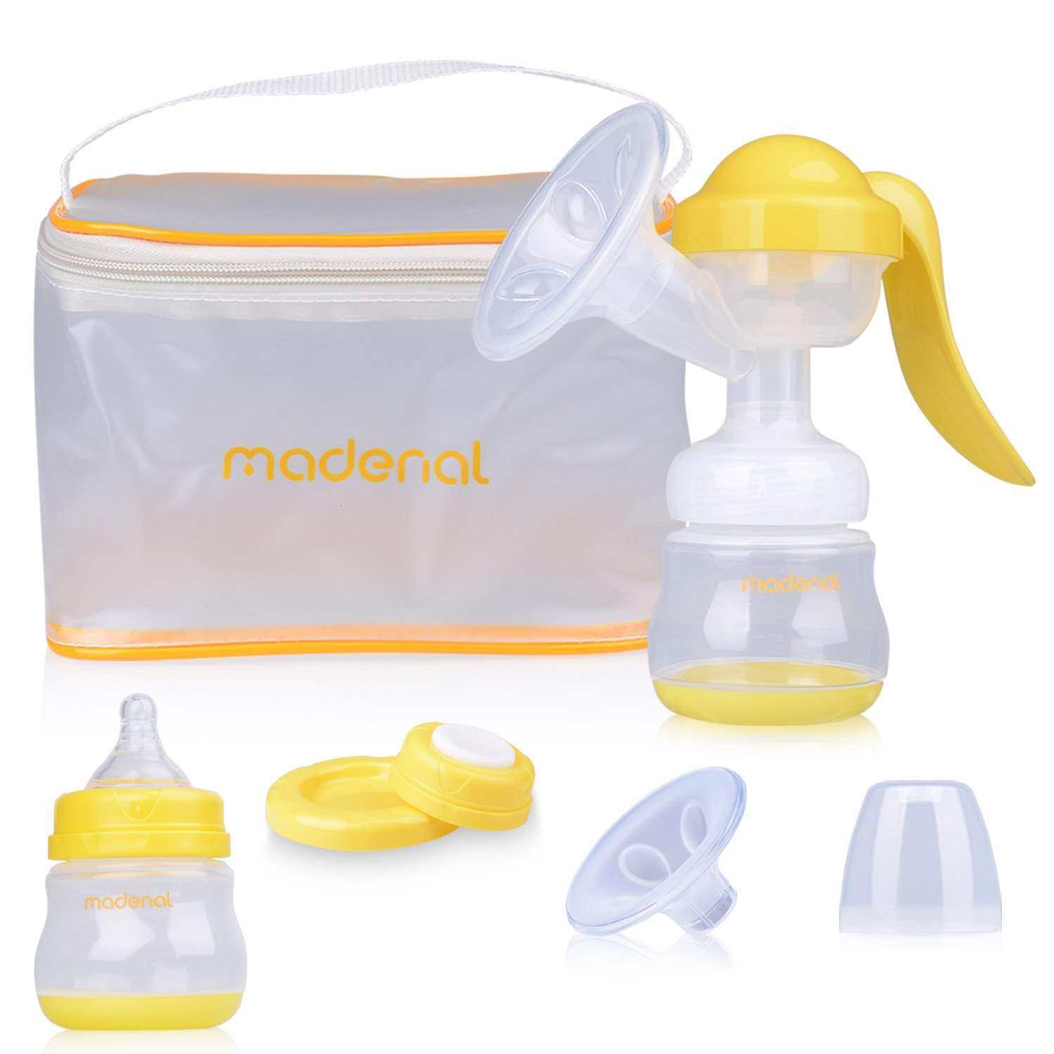 MADENAL Manual Breast Pump Travel Set, Hand Breastfeeding Pump with Bottle and Portable Bag, Effective and Comfortable