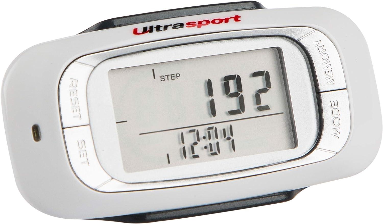 Ultrasport Podómetro 3D, preciso con Monitor LED con indicador de Pasos, Distancia, Tiempo de Actividad y Consumo de calorías, con Clip, Cinta de sujeción y Pila, Unisex, Blanco, 75 x 39 x 24 cm