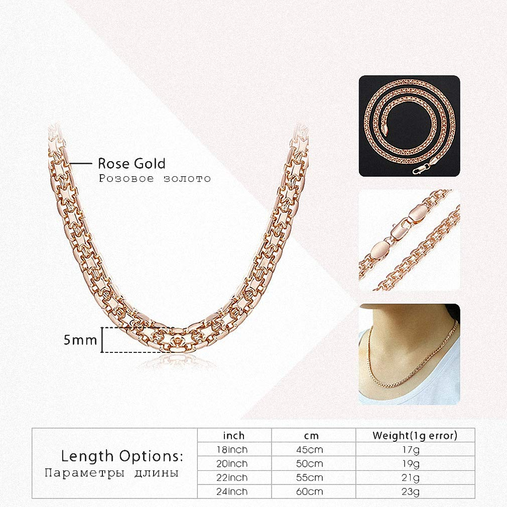 Xileg Rose Gold Filled Necklaces for Women Link Necklaces Chains Jewelry