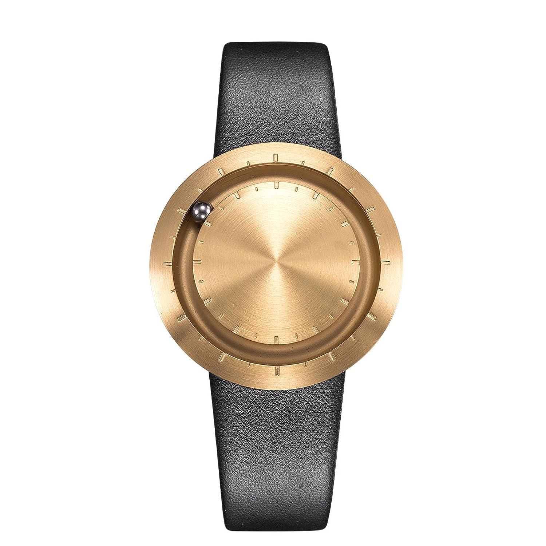 LAVARO goldene unisex armbanduhr damenarmbanduhren edelstahl wasserdicht herrenarmbanduhr leder schwarz