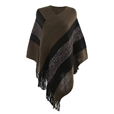 WhiFan Ponchos y Capas Invierno Chal Vintage para Mujer, Ponchos para Mujer Cárdigan Jersey Elegante Irregular con Flecos: Amazon.es: Ropa y accesorios
