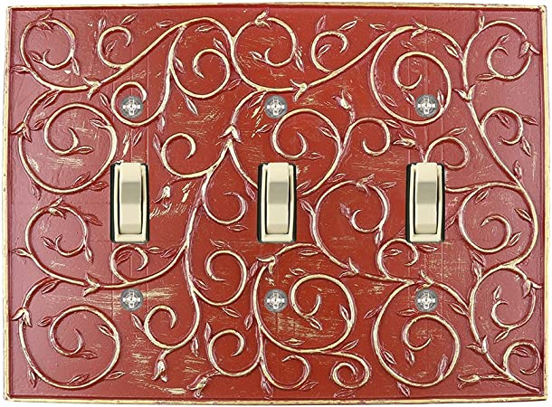 shockingly 3d electrical outlet covers wall switchplates.htm amazon com meriville french scroll 3 toggle wallplate  triple  amazon com meriville french scroll 3