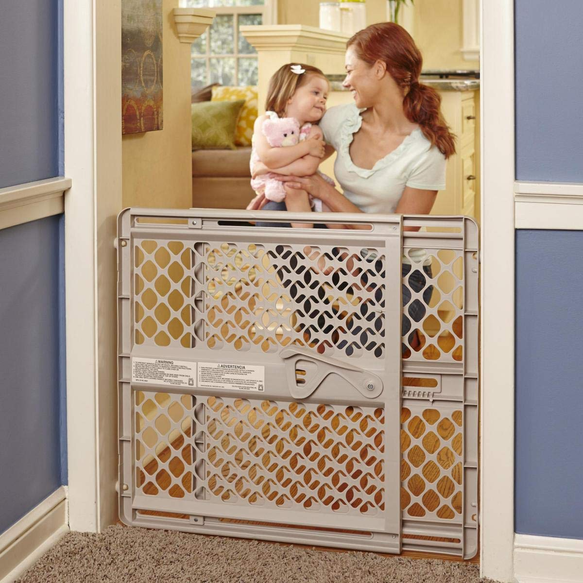 North States 42'' Wide Supergate Ergo Baby Gate: Easy-fit and Adjustable. Pressure or Hardware Mount (mounts Included). Fits 26''-42'' Wide (26'' Tall, Sand) by North States
