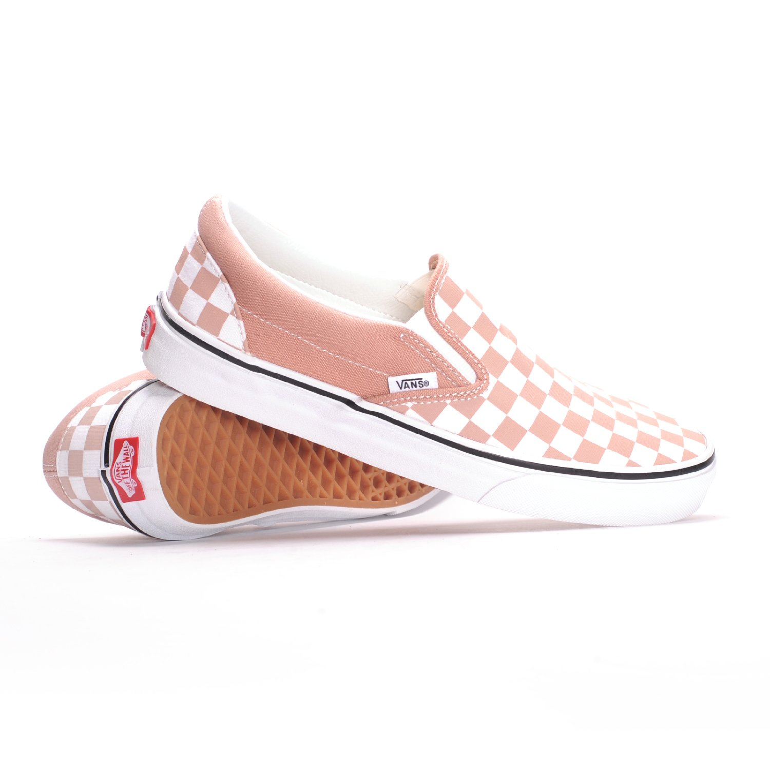 bed07feac0c3 Galleon - Vans Unisex Checkerboard Slip-On Mahogany Rose True White Sneaker  - 8
