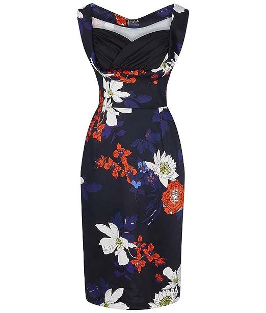 Lady Vintage Años 50 Madison Japonés Vestido de Tubo Diseño Floral Ceñido Negro - Negro,
