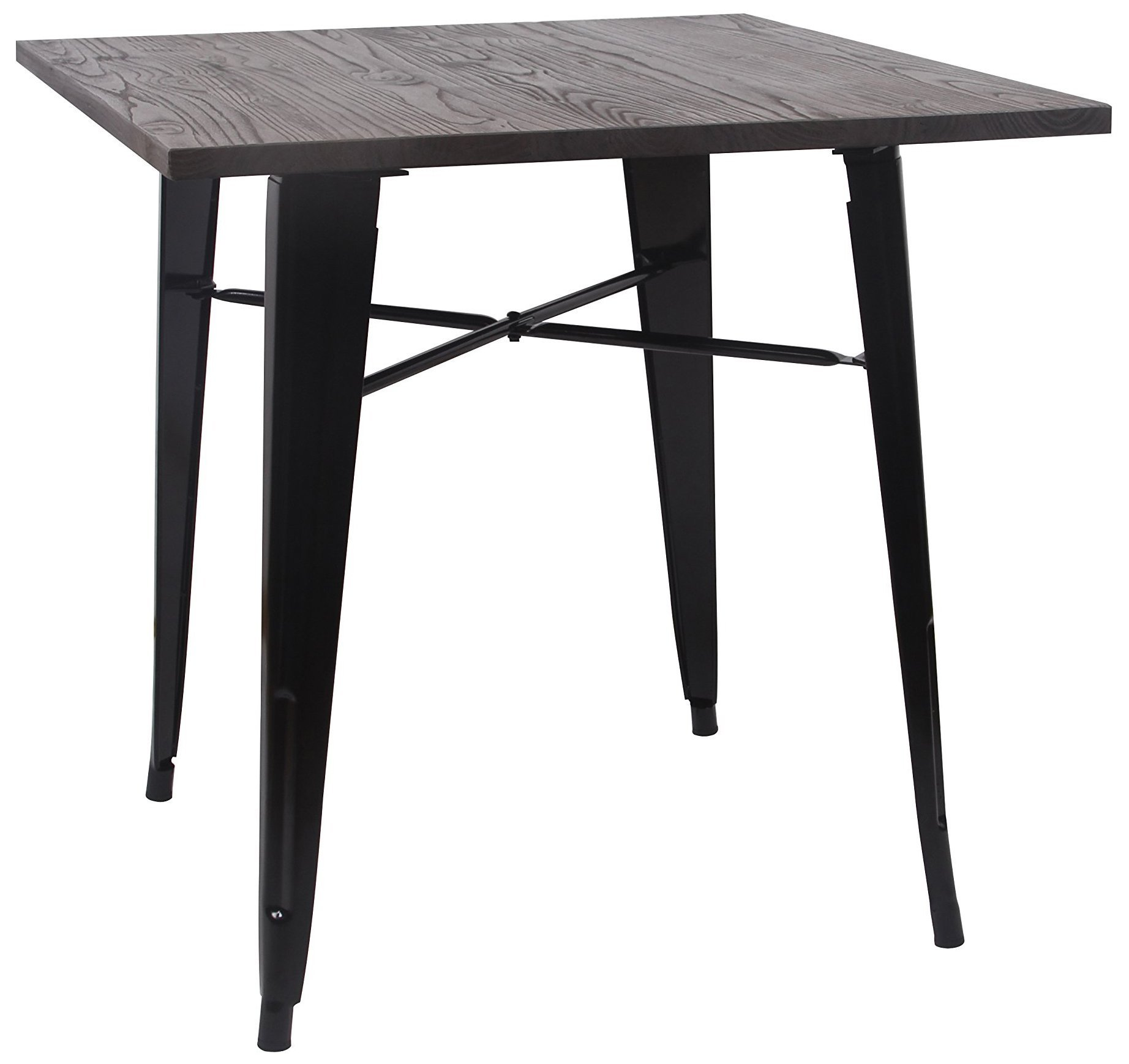 GIA Tolix style Dining/gaming metal table - Apartment size - Wood top - Metal leg-Easy assemble -Industrial appearance
