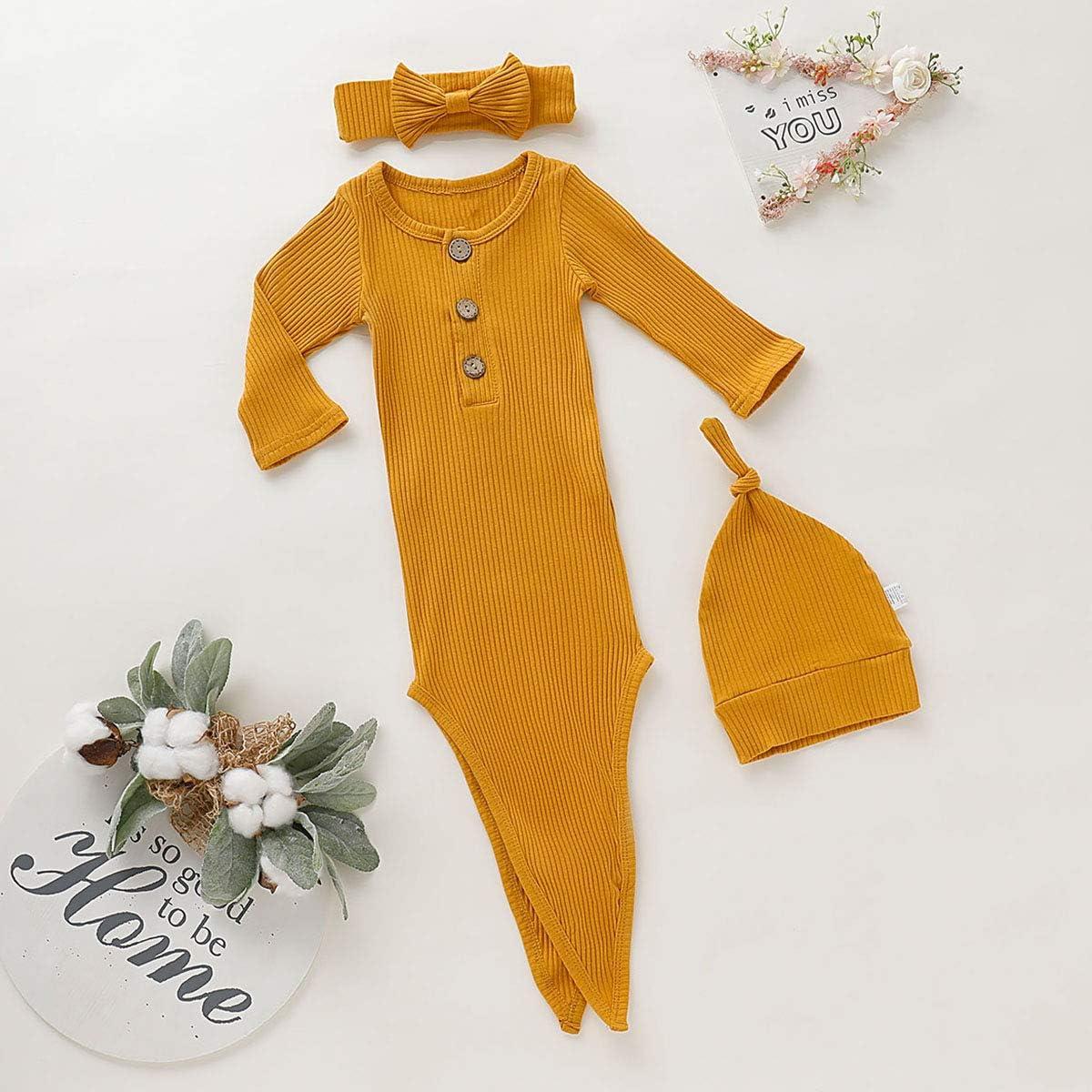 TrulyBee Newborn Baby Gender Neutral Sleepwear Infant Nightgowns with Pacifier Clip