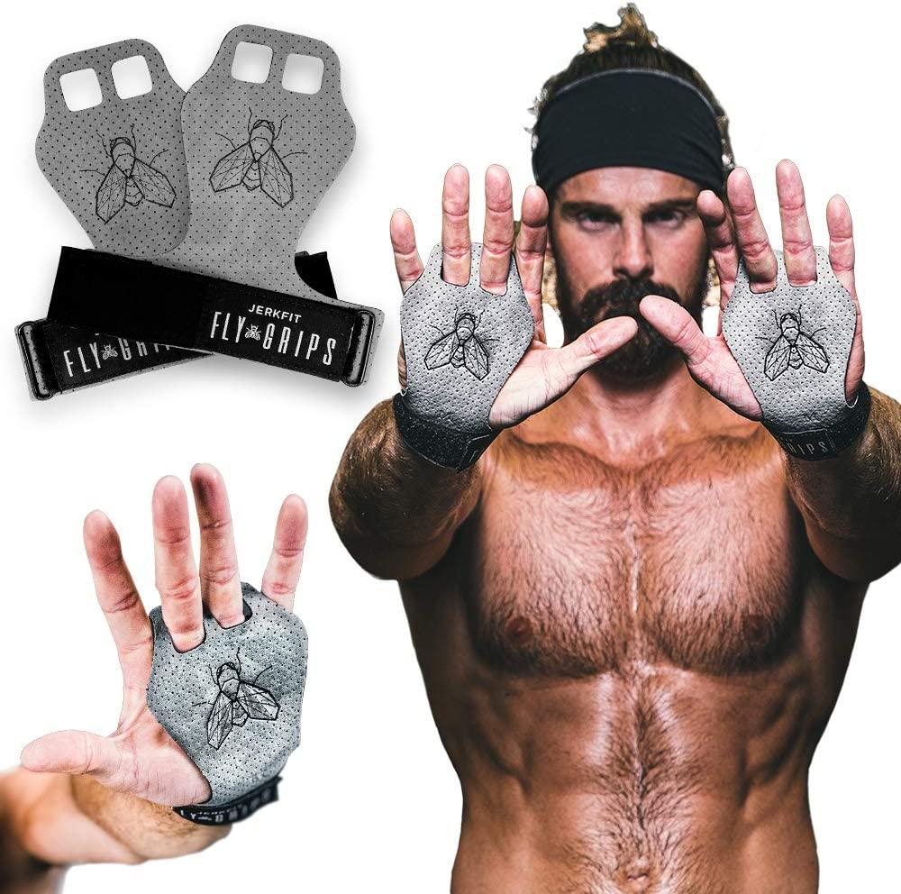 JerkFit Fly Grips, Hand Grips for Cross Training, Soft Vegan Lightweight Weight Lifting Gloves with Grip for Pull Ups, Powerlifting, Gymnastics, and WOD, Prevent Rips and Blisters