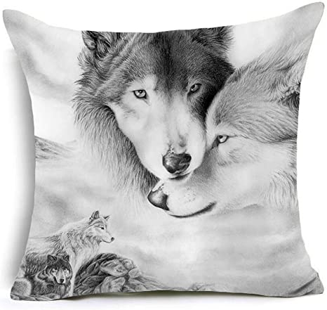 watercolor wolf forest cushion pillow cushion covers for sofa