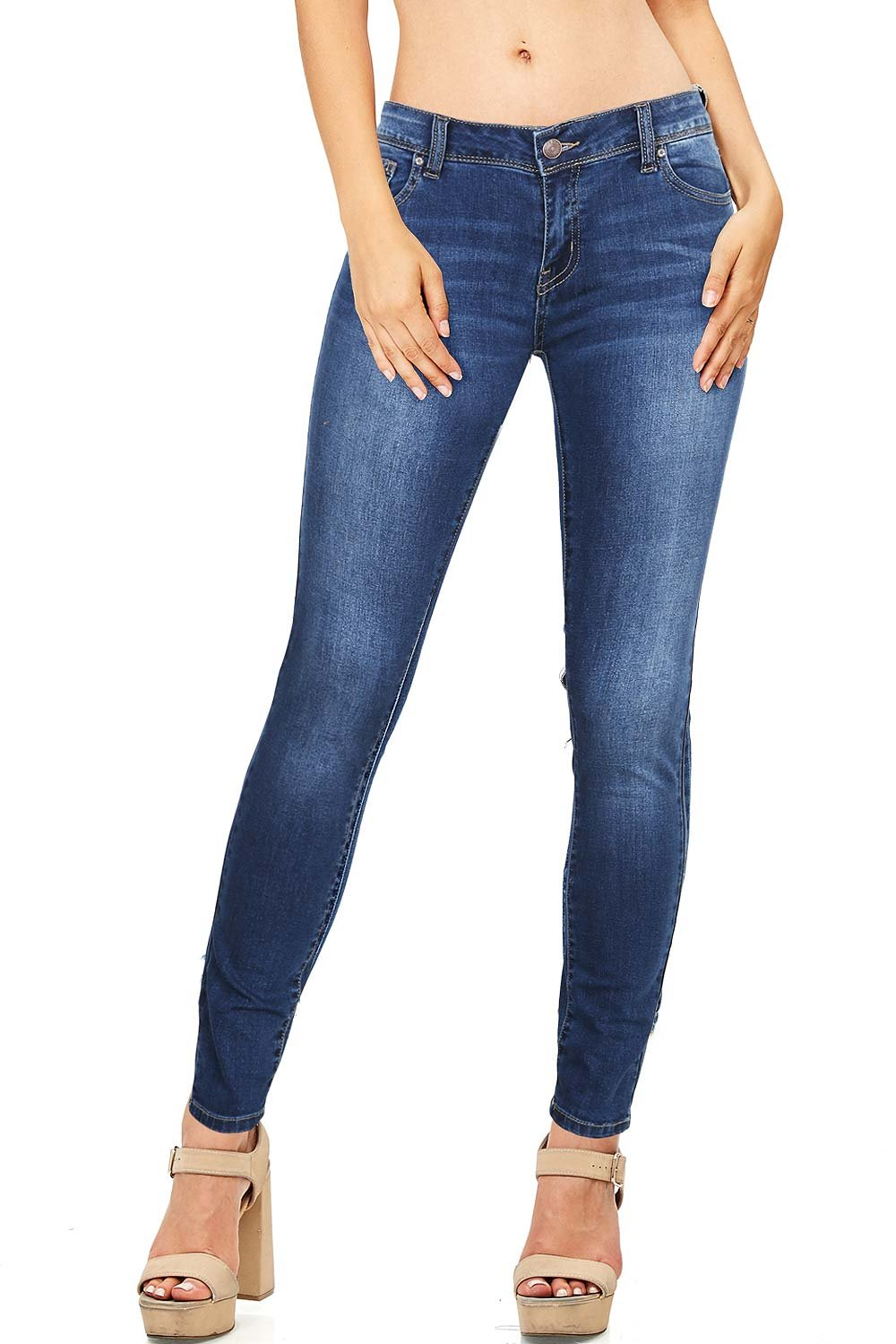 Wax Women's Juniors Basic Stretchy Fit Skinny Jeans (7, Med Denim)
