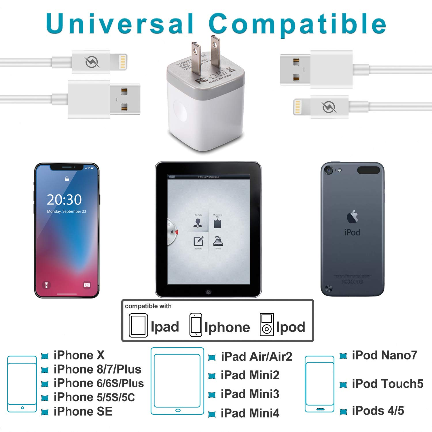 iPhone Charger, DENWAN Dual USB Wall Adapter Plug Block 2.1A/5V with 2-Pack (6ft / 3ft) Fast Charging Cable for iPhone X/8/7/6S Plus SE/5S/5C, iPad, iPod by DENWAN (Image #2)