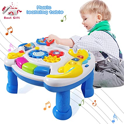 Biology Kids Toys Musical Learning Table Aquatic Creatures Activity Center Game Table Infant Babies Toys For 1-3 Years Old Boys Girls Buy One Get One Free