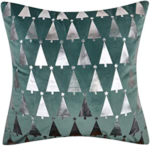 OiseauVoler Decorative Throw Pillow Covers Cushion Covers Christmas Trees Silver Foil Pillowslips Velvet Square Pillowcases Home Bed Sofa Room Decor 18x18 Inch Green