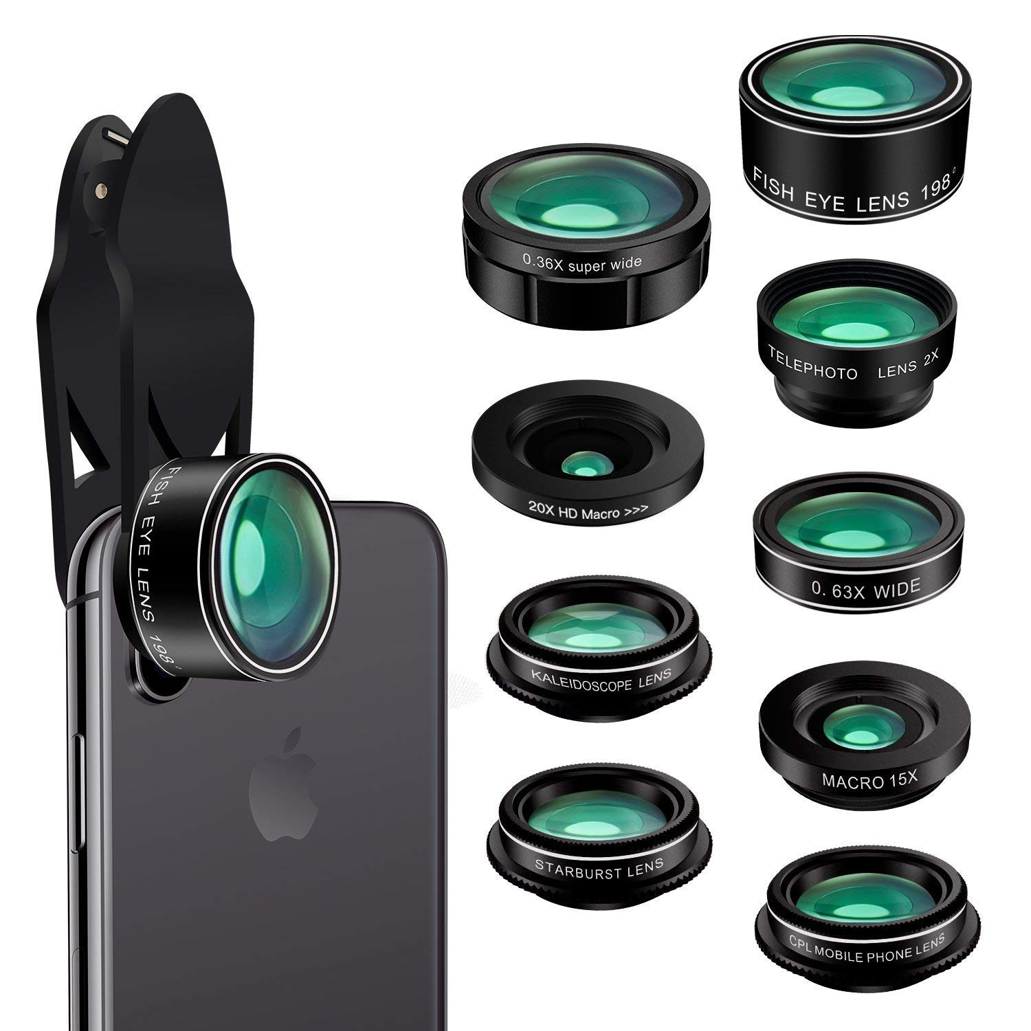 Cell Phone Camera Lens, 9 in 1 Camera Lens Kit Macro Lens + 198° Fisheye Lens + Wide Angle Lens + CPL + Kaleidoscope + Starburst Lens Compatible iPhone X/8/7/7 Plus/6s/6s & Samsung & Smartphones
