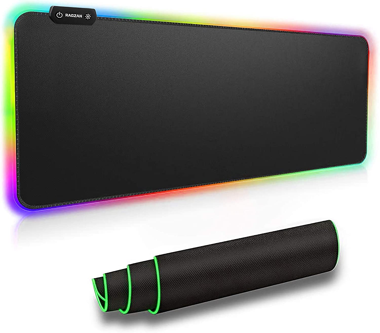 RAGZAN RGB Gaming Mouse Pad Large,LED XXL Extended Mouse Mat Thick and Foldable Mat Anti-Fray Stitched Edges for Keyboard,for Laptop/Keyboard/Mouse/Desktop and More Enjoy Smooth Operating Experience.