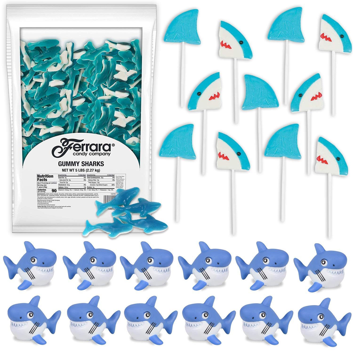 Shark Candies and Favors: 5 LB Large Gummy Sharks, 12 Shark Lollipops, 12 Rubber Water Squirting Shark - Great for Kids Birthday Party Favors and Prizes, Beach and Pool Parties by HeroFiber