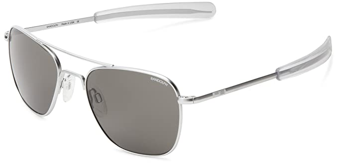 9d8ebc209b6 Randolph Aviator Non Polarized Square Sunglasses Gun Metal  Amazon ...