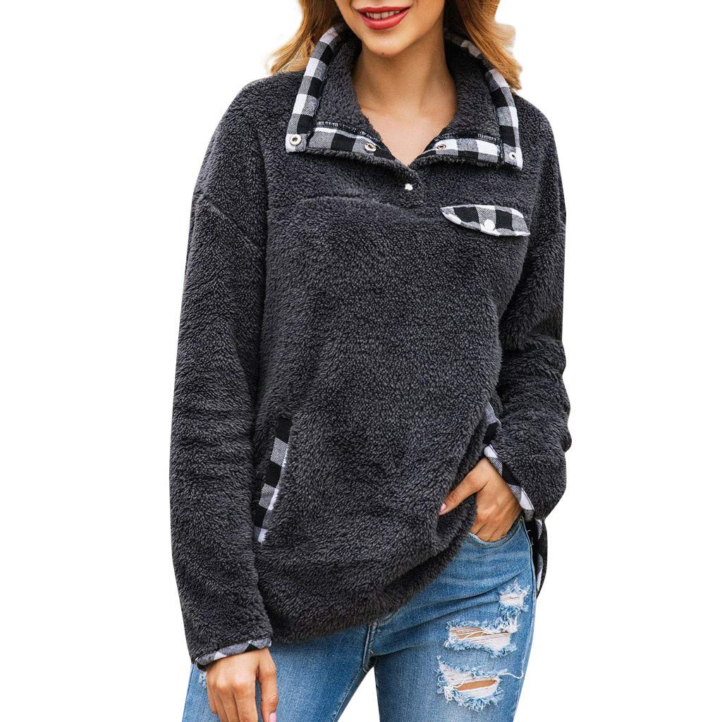 Women Flannel Plaid Patchwork Long Sleeve Collar 1/4 Zipper Faux Fleece Sweatshirt Pullover Tops Blouse by HNTDG by HNTDG