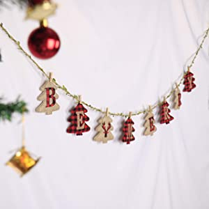 Merry Christmas Banner - Burlap and Buffalo Plaid Tree Shaped Christmas Decorations, Great Firepalce Decoration for Christmas