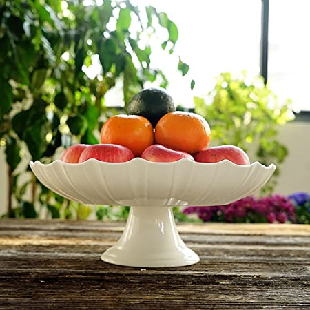 Pure White Ceramic Large Fruit Plate Living Room Decoration Simple